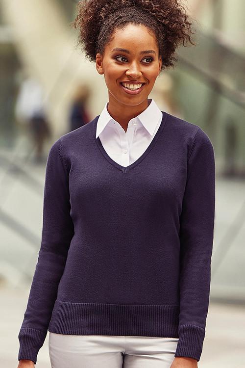 Pulover tricotat damă V-decolteu Russell Collection