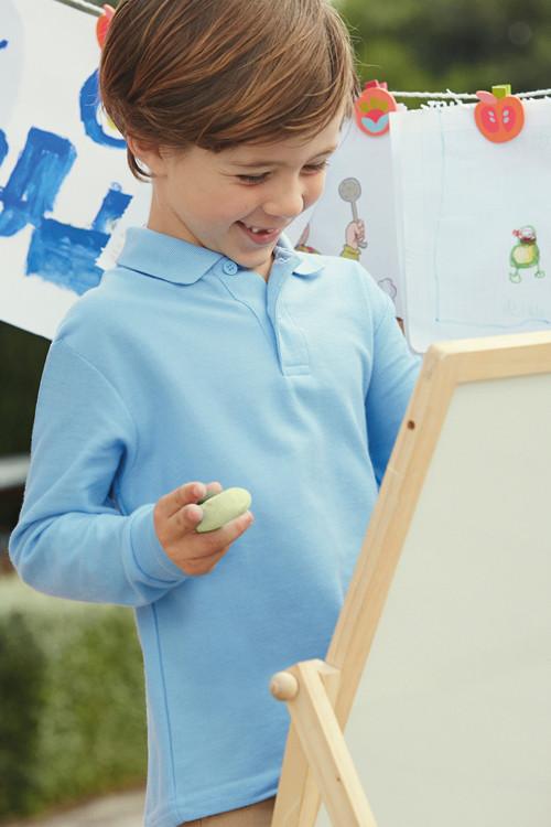 Tricou polo de copii cu mâneca lungă 65/35 Fruit of the Loom